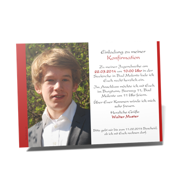 einladungskarten konfirmation | individuell gestaltbar, hochwertig, Einladung